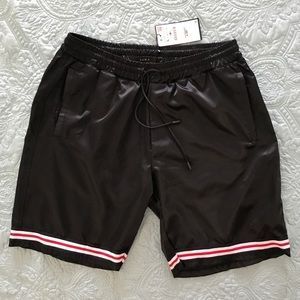 ZARA Athletic Blk Shorts Elastic Drawstrng Various